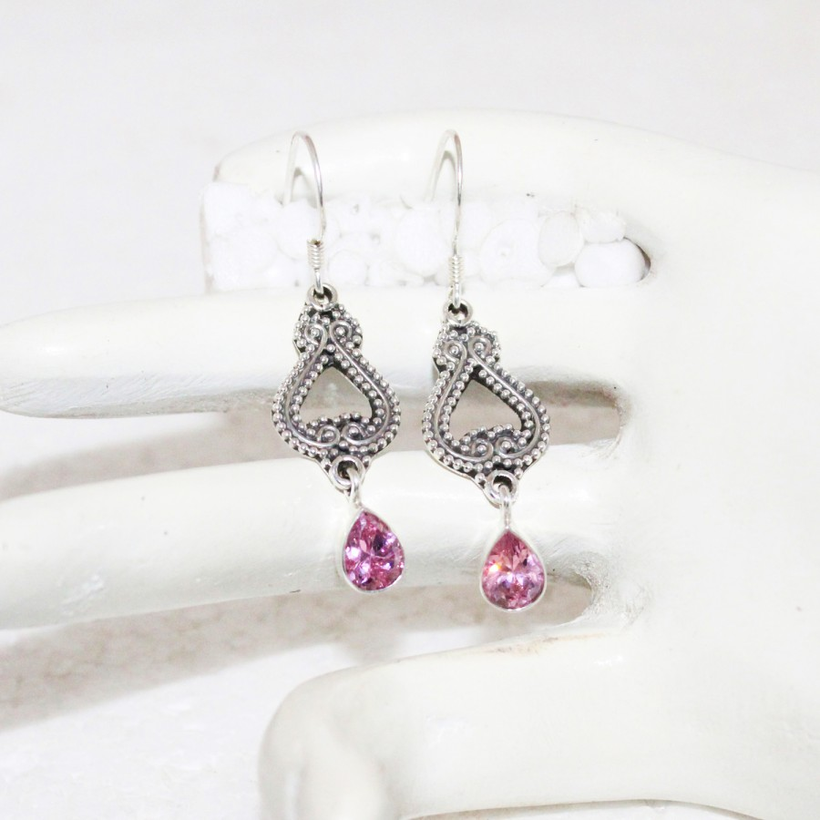 Awesome PINK TOPAZ Gemstone Earrings, Birthstone Earrings, 925 Sterling Silver Earrings, Fashion Handmade Earrings, Dangle Earrings, Gift Earrings
