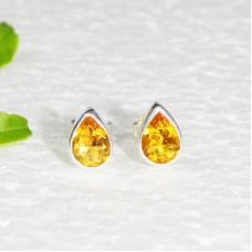 Attractive YELLOW CITRINE Gemstone Earrings, Birthstone Earrings, 925 Sterling Silver Earrings, Fashion Handmade Earrings, Stud Earrings, Gift Earrings