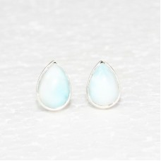 Awesome NATURAL DOMINICAN LARIMAR Gemstone Earrings, Birthstone Earrings, 925 Sterling Silver Earrings, Fashion Handmade Earrings, Stud Earrings, Gift Earrings