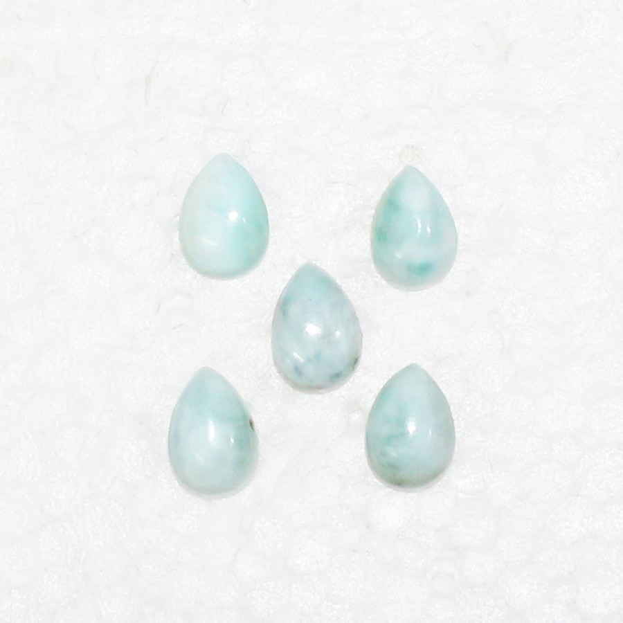 Awesome NATURAL DOMINICAN LARIMAR Gemstone, AAA Quality Cabochon Gemstone, Size 10x7 mm Pear & 2.15 ct Weight Per Piece, Blue Gemstone, Loose Gemstones