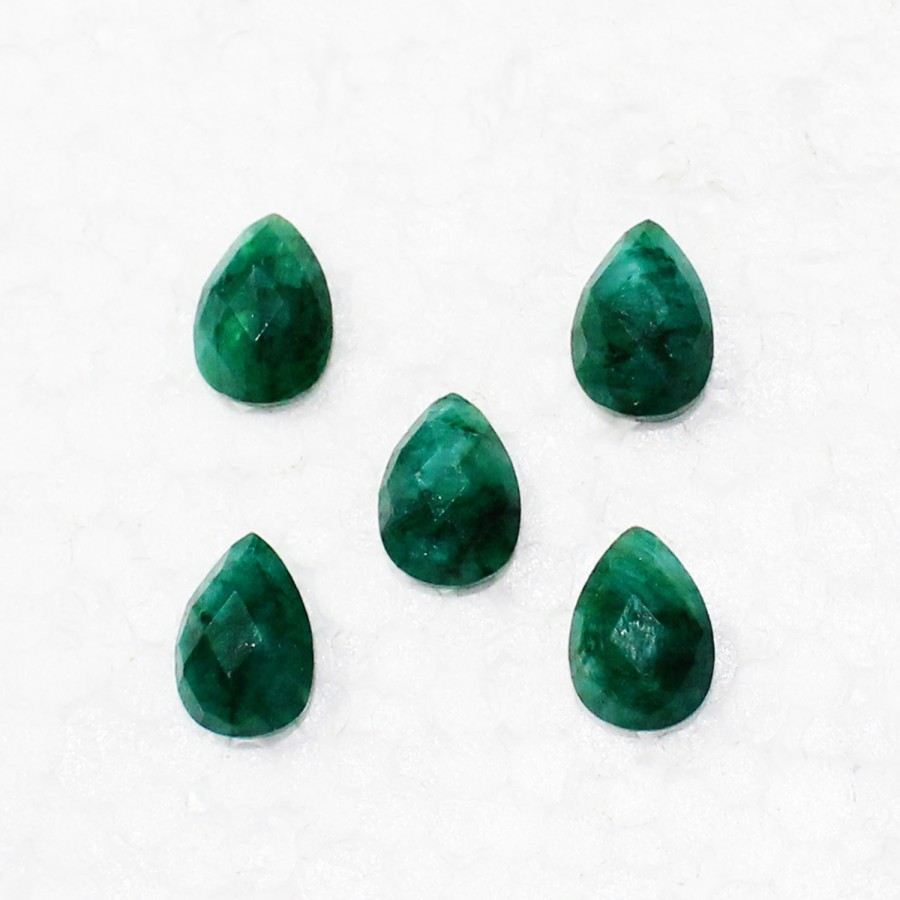 Beautiful NATURAL INDIAN EMERALD Gemstone, AAA Quality Faceted Gemstone, Size 10x7 mm Pear Checker Cut & 2.40 ct Weight Per Piece, Green Gemstone, Loose Gemstones