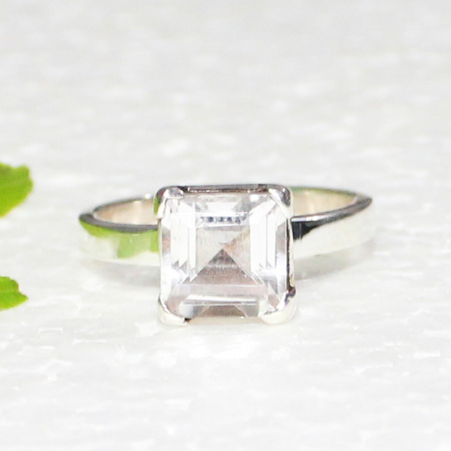 Attractive NATURAL CLEAR CRYSTAL Gemstone Ring, Birthstone Ring, 925 Sterling Silver Ring, Fashion Handmade Ring, All Ring Size, Gift Ring