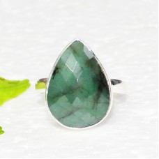 Genuine NATURAL EMERALD Gemstone Ring, Birthstone Ring, 925 Sterling Silver Ring, Fashion Handmade Ring, All Ring Size, Gift Ring