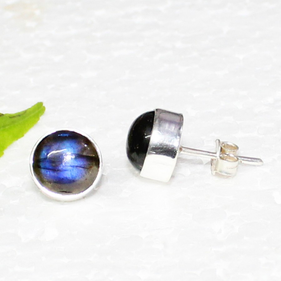 Beautiful NATURAL BLUE FIRE LABRADORITE Gemstone Earrings, Birthstone Earrings, 925 Sterling Silver Earrings, Fashion Handmade Earrings, Stud Earrings, Gift Earrings