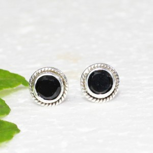 Gorgeous NATURAL BLACK TOURMALINE Gemstone Earrings, Birthstone Earrings, 925 Sterling Silver Earrings, Fashion Handmade Earrings, Stud Earrings, Gift Earrings