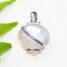 Exclusive NATURAL FIRE RAINBOW MOONSTONE Gemstone Pendant, Birthstone Pendant, 925 Sterling Silver Pendant, Fashion Handmade Pendant, Free Chain, Gift Pendant