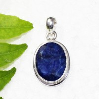 Attractive NATURAL INDIAN BLUE SAPPHIRE Gemstone Pendant, Birthstone Pendant, 925 Sterling Silver Pendant, Fashion Handmade Pendant, Free Chain, Gift Pendant