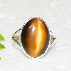 Attractive NATURAL TIGER EYE Gemstone Ring, Birthstone Ring, 925 Sterling Silver Ring, Fashion Handmade Ring, All Ring Size, Gift Ring
