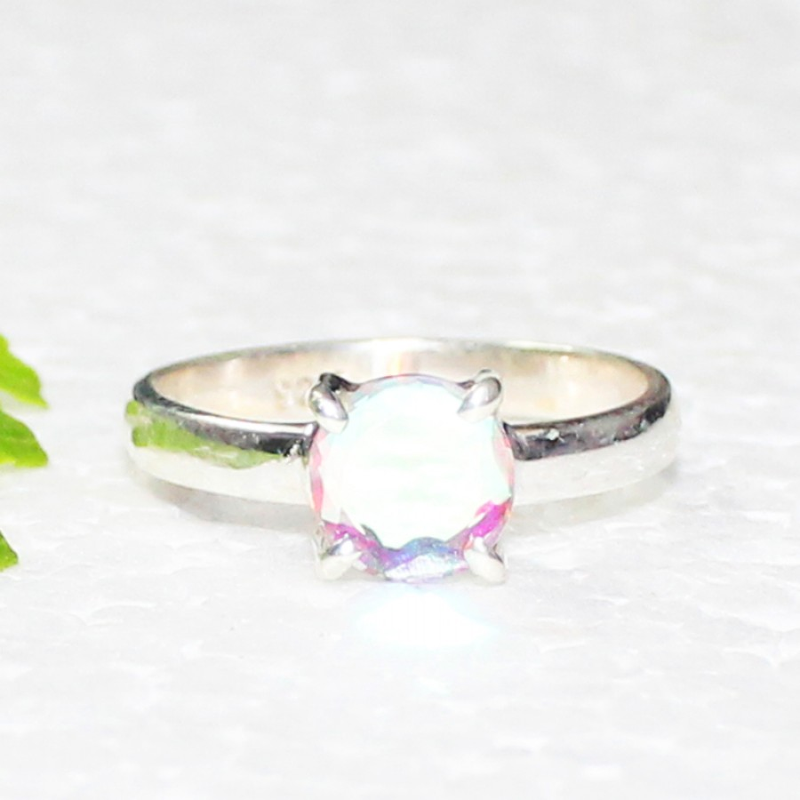 Awesome NATURAL RAINBOW MYSTIC Gemstone Ring, Birthstone Ring, 925 Sterling Silver Ring, Fashion Handmade Ring, All Ring Size, Gift Ring