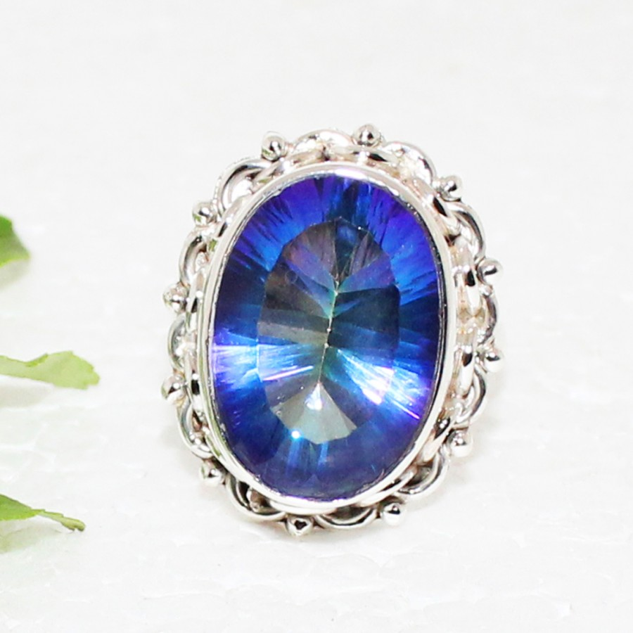 Exclusive MIDNIGHT MYSTIC TOPAZ Gemstone Ring, Birthstone Ring, 925 Sterling Silver Ring, Fashion Handmade Ring, All Ring Size, Gift Ring