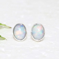 Exclusive NATURAL ETHIOPIAN OPAL Gemstone Earrings, Birthstone Earrings, 925 Sterling Silver Earrings, Healing Energy & Powers, Stud Earrings, Gift Earrings