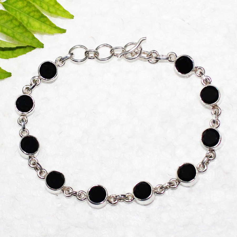 Beautiful NATURAL BLACK TOURMALINE Gemstone Bracelet, Birthstone Bracelet, 925 Sterling Silver Bracelet, Fashion Handmade Bracelet, Adjustable Size, Gift Bracelet