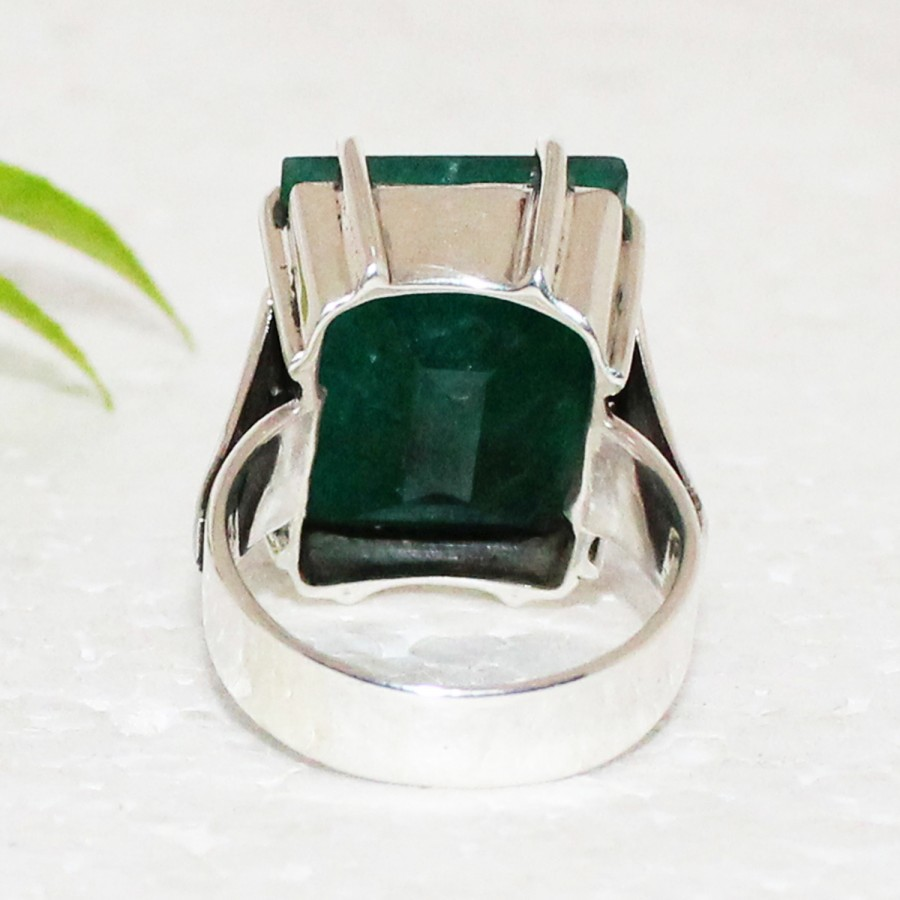 Excellent NATURAL INDIAN EMERALD Gemstone Ring, Birthstone Ring, 925 Sterling Silver Ring, Fashion Handmade Ring, All Ring Size, Gift Ring