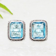 Beautiful SKY BLUE TOPAZ Gemstone Earrings, Birthstone Earrings, 925 Sterling Silver Earrings, Fashion Handmade Earrings, Stud Earrings, Gift Earrings