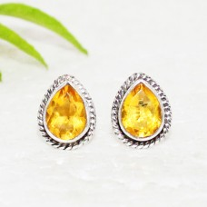 Gorgeous YELLOW CITRINE Gemstone Earrings, Birthstone Earrings, 925 Sterling Silver Earrings, Fashion Handmade Earrings, Stud Earrings, Gift Earrings