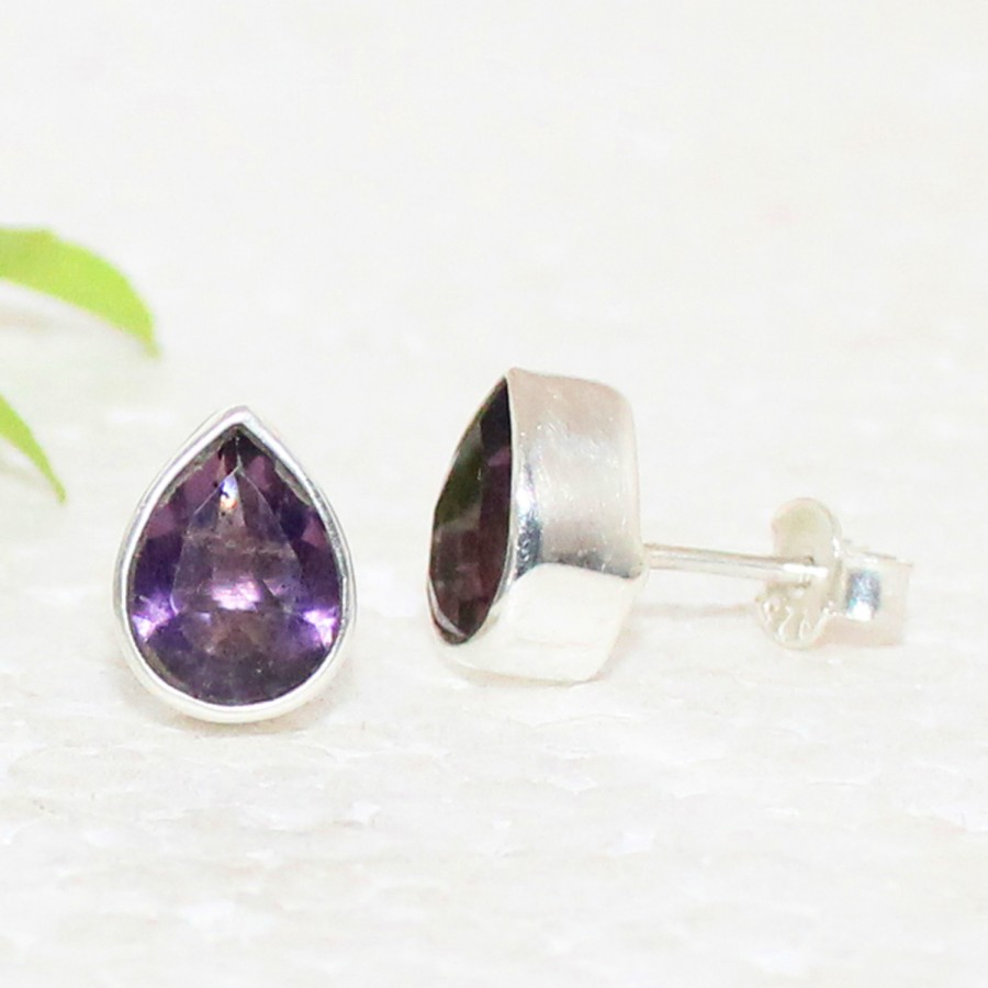 Gorgeous NATURAL PURPLE AMETHYST Gemstone Earrings, Birthstone Earrings, 925 Sterling Silver Earrings, Fashion Handmade Earrings, Stud Earrings, Gift Earrings