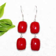 Beautiful RED CORAL Gemstone Earrings, Birthstone Earrings, 925 Sterling Silver Earrings, Fashion Handmade Earrings, Dangle Earrings, Gift Earrings