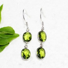 Beautiful GREEN PERIDOT Gemstone Earrings, Birthstone Earrings, 925 Sterling Silver Earrings, Fashion Handmade Earrings, Dangle Earrings, Gift Earrings