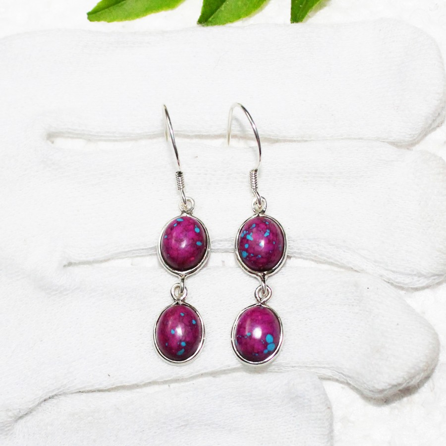 Gorgeous PURPLE TURQUOISE Gemstone Earrings, Birthstone Earrings, 925 Sterling Silver Earrings, Fashion Handmade Earrings, Dangle Earrings, Gift Earrings