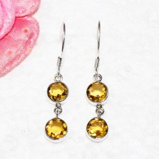 Exclusive YELLOW CITRINE Gemstone Earrings, Birthstone Earrings, 925 Sterling Silver Earrings, Fashion Handmade Earrings, Dangle Earrings, Gift Earrings