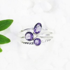 Genuine NATURAL PURPLE AMETHYST Gemstone Ring, Birthstone Ring, 925 Sterling Silver Ring, Fashion Handmade Ring, All Size, Gift Ring