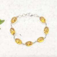 Attractive BALTIC AMBER Gemstone Bracelet, Birthstone Bracelet, 925 Sterling Silver Bracelet, Fashion Handmade Bracelet, Adjustable Size, Gift Bracelet