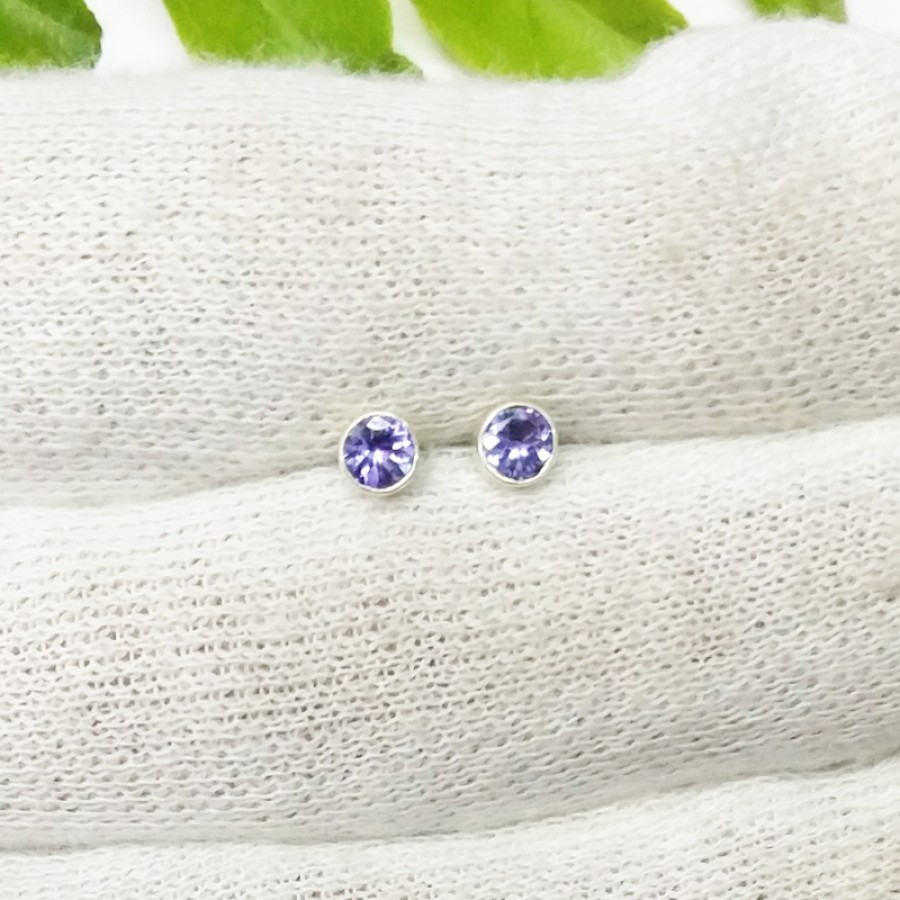 Beautiful NATURAL TANZANITE Gemstone Earrings, Birthstone Earrings, 925 Sterling Silver Earrings, Fashion Handmade Earrings, Stud Earrings, Gift Earrings
