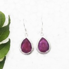 Awesome NATURAL INDIAN RUBY Gemstone Earrings, Birthstone Earrings, 925 Sterling Silver Earrings, Fashion Handmade Earrings, Dangle Earrings, Gift Earrings