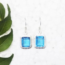 Beautiful SWISS BLUE TOPAZ Gemstone Earrings, Birthstone Earrings, 925 Sterling Silver Earrings, Fashion Handmade Earrings, Dangle Earrings, Gift Earrings