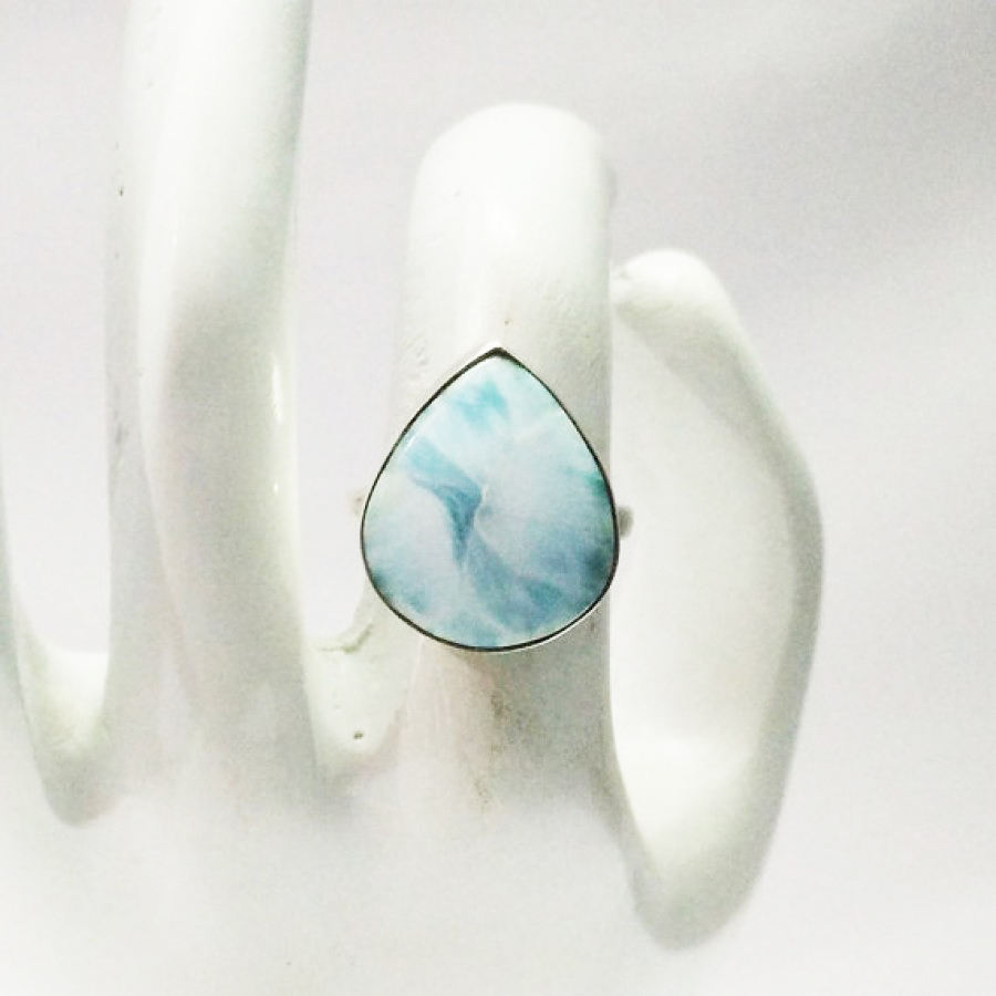 Awesome NATURAL DOMINICAN LARIMAR Gemstone Ring, Birthstone Ring, 925 Sterling Silver Ring, Fashion Handmade Ring, All Ring Size, Gift Ring