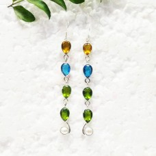 Exclusive MULTI GEMSTONE Earrings, Birthstone Earrings, 925 Sterling Silver Earrings, Fashion Handmade Earrings, Dangle Earrings, Gift Earrings