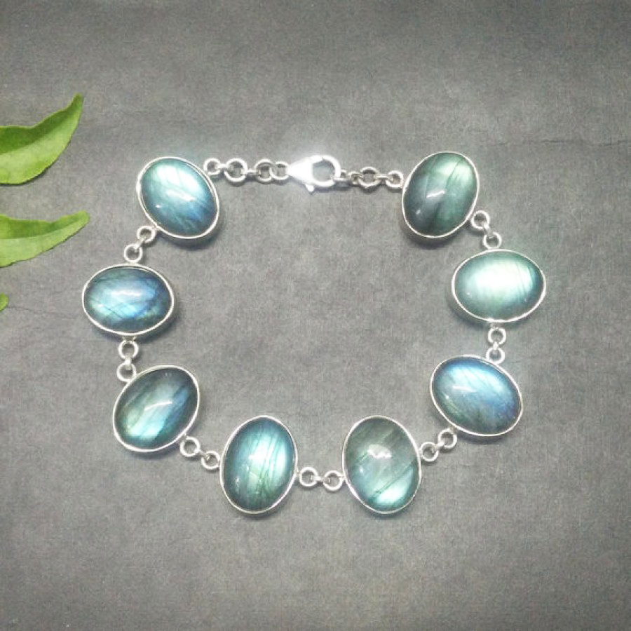 Beautiful NATURAL BLUE FIRE LABRADORITE Gemstone Bracelet, Birthstone Bracelet, 925 Sterling Silver Bracelet, Fashion Handmade Bracelet, Adjustable Size, Gift Bracelet
