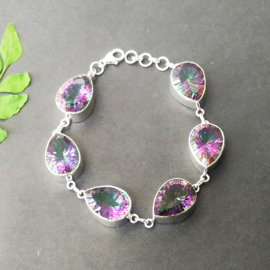 Beautiful MIDNIGHT MYSTIC TOPAZ Gemstone Bracelet, Birthstone Bracelet, 925 Sterling Silver Bracelet, Handmade Bracelet, Adjustable Size, Gift Bracelet
