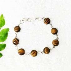 Gorgeous NATURAL TIGER EYE Gemstone Bracelet, Birthstone Bracelet, 925 Sterling Silver Bracelet, Fashion Handmade Bracelet, Adjustable Size, Gift Bracelet