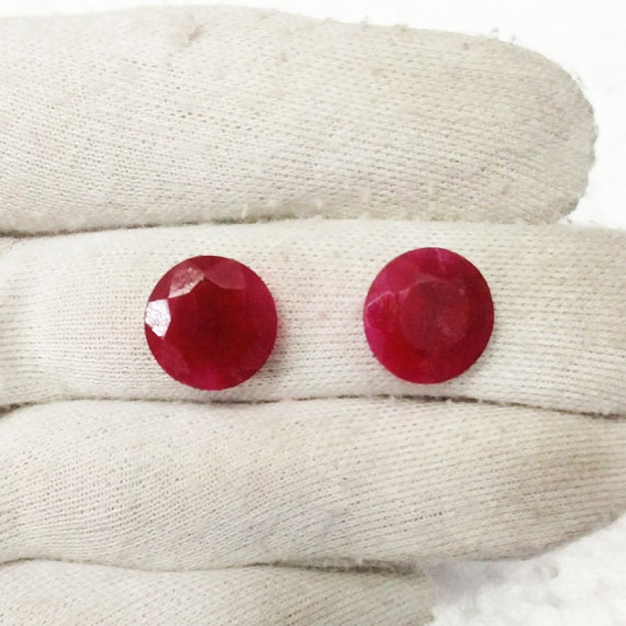 Attractive NATURAL INDIAN RUBY Gemstone, AAA Quality Faceted Gemstone, Size 14x14 mm Round & 10.70 ct Weight Per Piece, Red Gemstone, Loose Gemstones