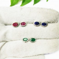 Exclusive 3 PAIRS NATURAL Gemstone Earrings, Birthstone Earrings, 925 Sterling Silver Earrings, Handmade Earrings, Weekdays Stud Earrings, Gift Earrings