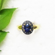 Genuine NATURAL BLUE SAPPHIRE / DIAMOND Gemstone Ring, Birthstone Ring, 925 Sterling Silver Gold Plated Ring, Fashion Handmade Ring, All Ring Size, Gift Ring