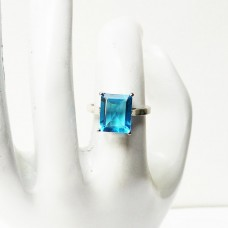 Beautiful SWISS BLUE TOPAZ Gemstone Ring, Birthstone Ring, 925 Sterling Silver Ring, Fashion Handmade Ring, All Ring Size, Gift Ring