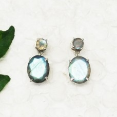 Excellent NATURAL BLUE FIRE LABRADORITE Gemstone Earrings, Birthstone Earrings, 925 Sterling Silver Earrings, Fashion Handmade Earrings, Drop Earrings, Gift Earrings