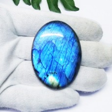 Excellent NATURAL FIRE LABRADORITE Gemstone, AAA Quality Fire Blue Cabochon Gemstone, Size 55x40 mm Oval & 143 ct Weight, Black Rainbow, Loose Gemstones