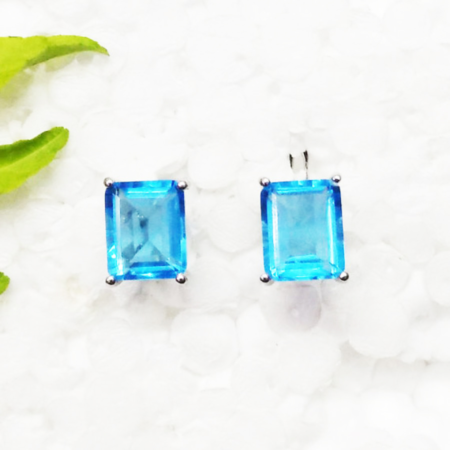 Beautiful SWISS BLUE TOPAZ Gemstone Earrings, Birthstone Earrings, 925 Sterling Silver Earrings, Fashion Handmade Earrings, Russian Lock Earrings, Gift Earrings
