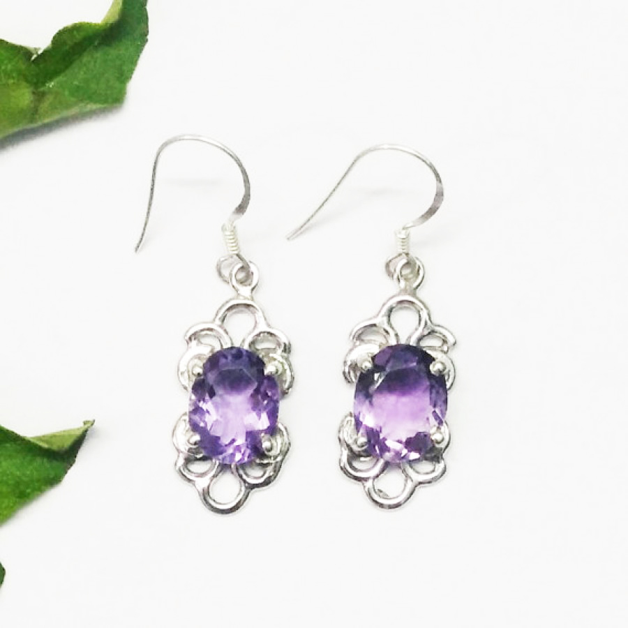 Genuine NATURAL PURPLE AMETHYST Gemstone Earrings, Birthstone Earrings, 925 Sterling Silver Earrings, Fashion Handmade Earrings, Dangle Earrings, Gift Earrings