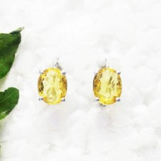 Beautiful NATURAL CITRINE Gemstone Earrings, Birthstone Earrings, 925 Sterling Silver Earrings, Fashion Handmade Earrings, Russian Lock Earrings, Gift Earrings