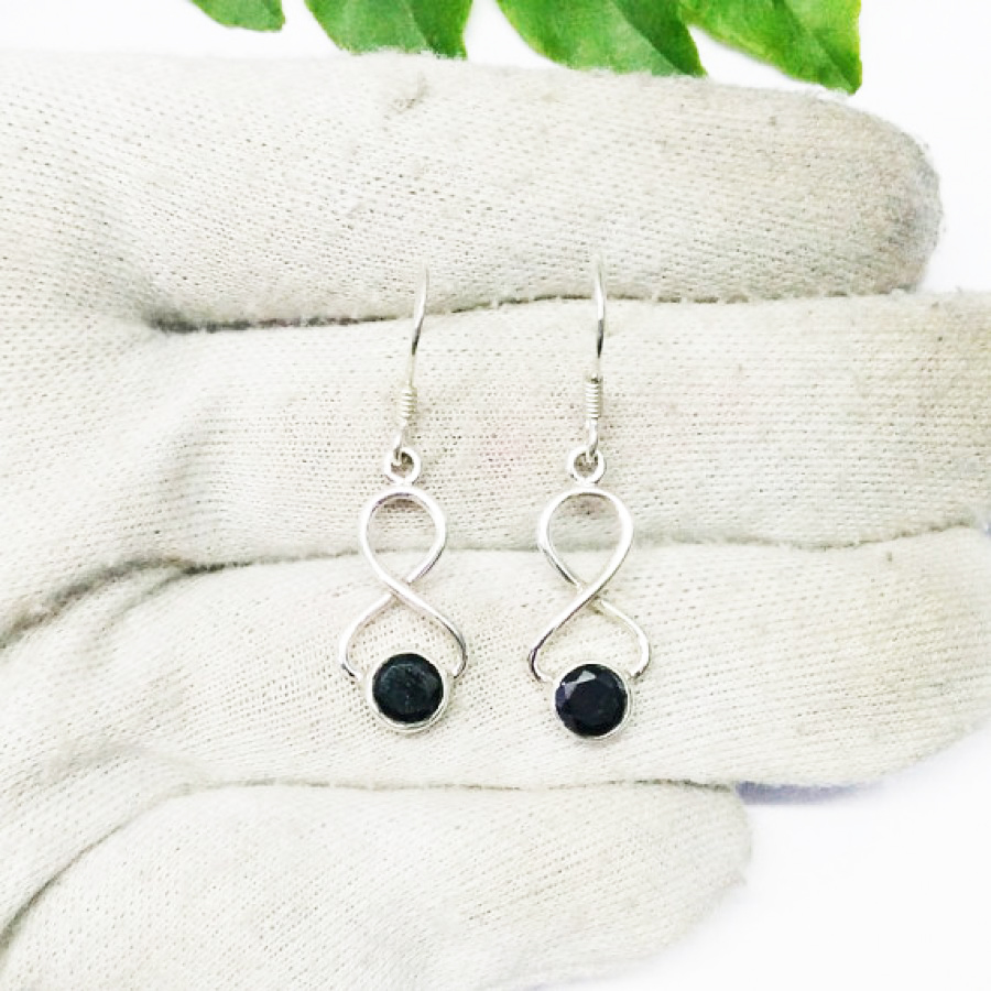Awesome NATURAL BLACK TOURMALINE Gemstone Earrings, Birthstone Earrings, 925 Sterling Silver Earrings, Fashion Handmade Earrings, Dangle Earrings, Gift Earrings