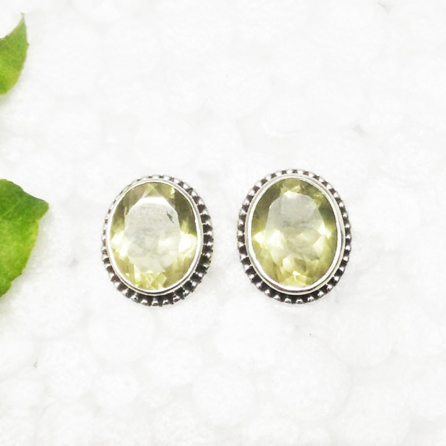 Attractive LEMON TOPAZ Gemstone Earrings, Birthstone Earrings, 925 Sterling Silver Earrings, Fashion Handmade Earrings, Stud Earrings, Gift Earrings