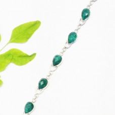 Gorgeous NATURAL INDIAN EMERALD Gemstone Bracelet, Birthstone Bracelet, 925 Sterling Silver Bracelet, Fashion Handmade Bracelet, Adjustable Size, Gift Bracelet