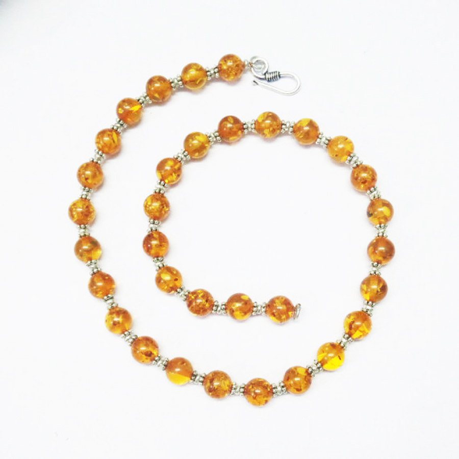 Gorgeous BALTIC AMBER Gemstone Necklace, Birthstone Necklace, Fashion Handmade Necklace, Wedding Necklace, Birthday Necklace, Adjustable Size, Gift Necklace
