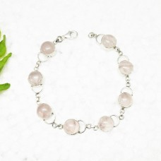 Attractive NATURAL ROSE QUARTZ Gemstone Bracelet, Birthstone Bracelet, 925 Sterling Silver Bracelet, Fashion Handmade Bracelet, Adjustable Size, Gift Bracelet