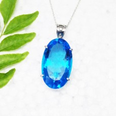 Beautiful LONDON BLUE TOPAZ Gemstone Pendant, Birthstone Pendant, 925 Sterling Silver Pendant, Fashion Handmade Pendant, Free Chain, Gift Pendant