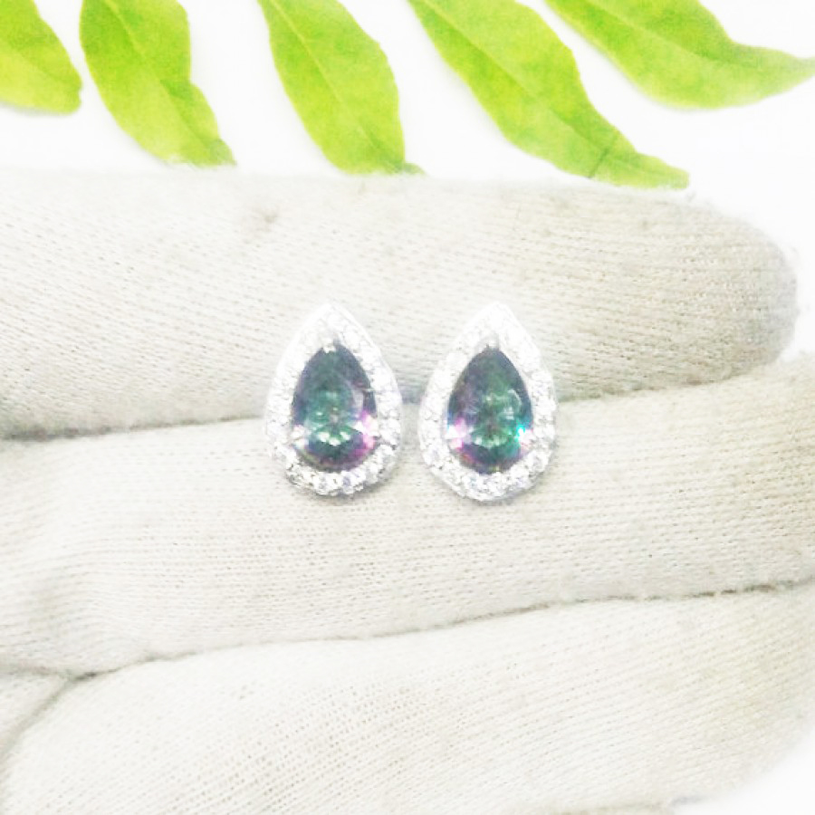 Amazing MIDNIGHT MYSTIC TOPAZ / WHITE TOPAZ Gemstone Earrings, Birthstone Earrings, 925 Sterling Silver Earrings, Fashion Handmade Earrings, Stud Earrings, Gift Earrings